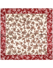 Fashion Clart Red Flower Pattern Decorated Square Shape Scarf