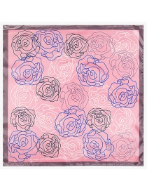 Fashion Pink Flower Pattern Decorated Simple Scarf