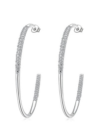 Fashion Silver Color Pure Color Decorated Opening Earrings