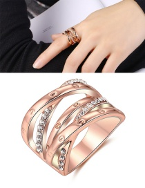 Elegant Rose Gold Cross Shape Decorated Ring #6