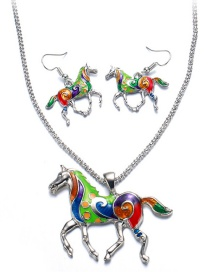 Vintage Multi-color Horse Shape Decorated Jewelry Sets