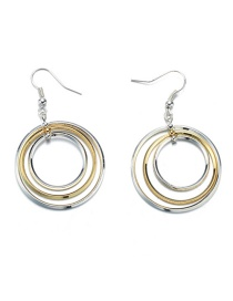 Fashion Silver Color +gold Color Round Shape Decorated Earrings