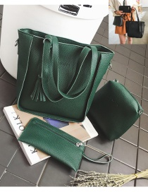 Fashion Green Tassel Decorated Pure Color Handbag (6 Pcs)