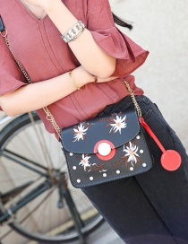 Fashion Black Embroidery Flower Decorated Pure Color Shoulder Bag