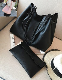 Fashion Black Rectangle Shape Decorated Pure Color Shoulder Bag (2 Pcs)