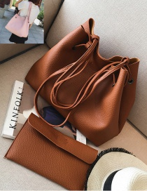 Fashion Light brown Rectangle Shape Decorated Pure Color Shoulder Bag (2 Pcs)