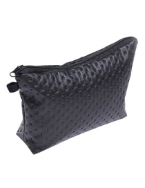 Fashion Black Pure Color Decorated Waterproof Cosmetic Bag