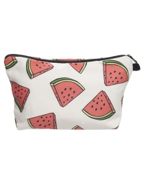 Fashion White Watermelon Pattern Decorated Cosmetic Bag