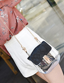 Personality Black Transparency Design Long Chain Bag