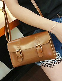 Fashion Light Brown Double Hasp Decorated Bag