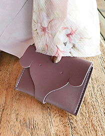 Lovely Purple Elephant Shape Decorated Pure Color Wallet