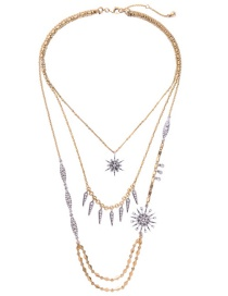 Fashion Gold Color Diamond Decorated Star Shape Pure Color Necklace