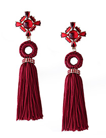 Fashion Clart Red Diamond&tassel Decorated Pure Color Earrings