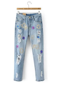 Fashion Blue Embroidery Flower Decorated Ripped Jeans Pant