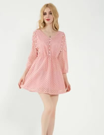 Fashion Pink Bead Decorated Hollow Out Pure Color Dress