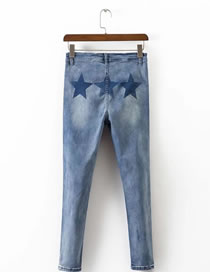 Fashion Light Blue Star Pattern Decorated High Waist Pure Color Jeans Pant