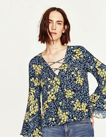 Fashion Multi-color Flower Pattern Decorated Color Matching Long Sleeves Shirt