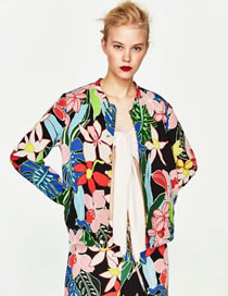 Fashion Multi-color Flower Pattern Decorated Color Matching Coat