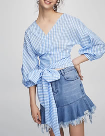 Fashion Blue Grid Pattern Decorated Pure Color Shirt