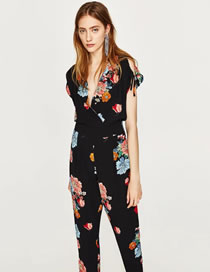 Fashion Multi-color Flower Pattern Decorated Color Matching Jumpsuit