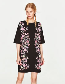 Fashion Black Flower Pattern Decorated Color Matching Dress