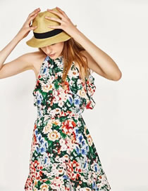 Fashion Multi-color Flower Pattern Decorated Color Matching Dress