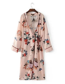 Fashion Pink Flower Pattern Decorated Color Matching Long Sleeve Coat