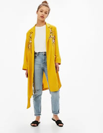Fashion Yellow Embroidery Flower Decorated Pure Color Long Sleeve Coat