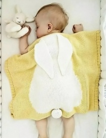 Fashion Yellow Rabbit Shape Decorated Pure Color Blanket