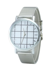 Fashion Silver Color Plaid Pattenr Decorated Pure Color Watch