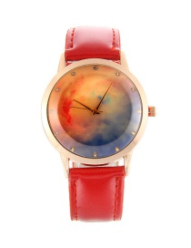 Fashion Red Stars Pattern Decorated Pure Color Watch
