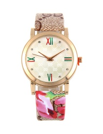 Fashion Khaki+pink Diamond Decorated Roud Dial Pure Color Watch