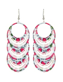 Fashion Multi-color Circular Ring Shape Decorated Color Matching Earrings