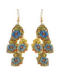 Fashion Multi-color Flower Shape Decorated Hollow Out Color Matching Earrings