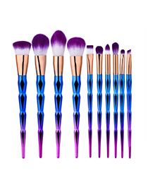 Fashion Purple+blue Color Matching Decorated Simple Makeup Brush(10pcs)
