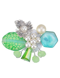 Fashion Green Preal Decorated Flower Shape Color Matching Brooch