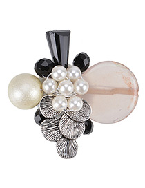 Fashion White Pearl Decorated Round Shape Color Matching Brooch