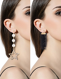 Fashion Black Pearl&diamond Decorated Star Shape Pure Color Earrings