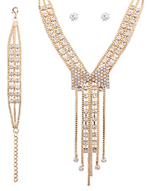 Fashion Gold Color Diamond Decorated Bowknot Shape Pure Color Jewelry Set