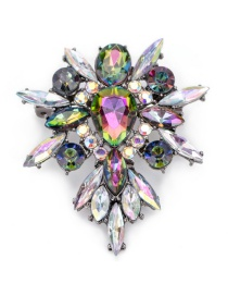 Fashion Multi-color Diamond Decorated Water Drop Shape Color Matching Brooch