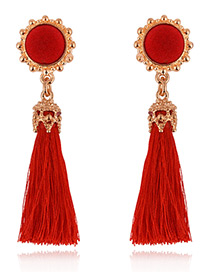 Fashion Red Tassel Decorared Pure Color Earrings