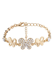 Elegant Gold Color Butterfly Shape Decorated Bracelet