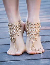 Fashion Gold Color Hollow Out Decorated Anklet (1pcs)