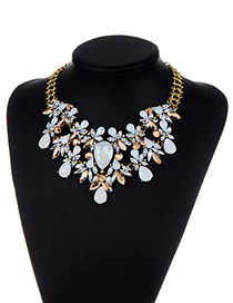 Fashion White Diamond Decorated Water Drop Shape Pure Color Necklace