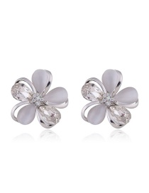 Fashion Silver Color Flowers Decorated Pure Color Earrings