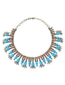 Fashion Blue Oval Shape Diamond Decorated Short Necklace