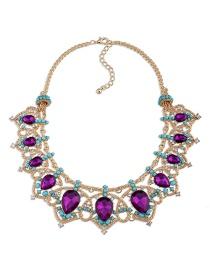 Fashion Purple Water Drop Shape Diamond Decorated Necklace