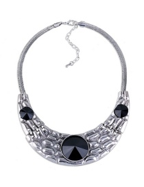 Fashion Silver Color Oval Shape Diamond Decorated Arc Shape Necklace