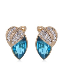 Fashion Blue Leaf Shape Decorated Color Matching Earrings