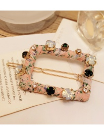 Elegant Pink Square Shape Decorated Hairpin